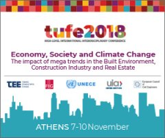 "tufe2018: ""Economy, Society and Climate Change – Τhe impact of mega trends in the Built Environment, Construction Industry and Real Estate"", 7-9 Νοεμβρίου Αθήνα"